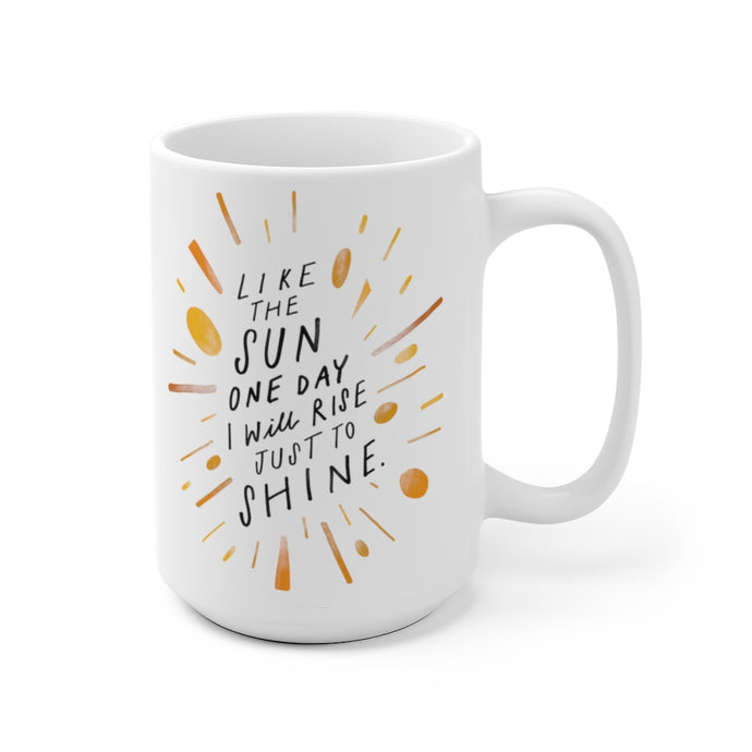 Short poem about living your best life featured in bright, whimsical hand-lettering on a beautiful 15 oz white coffee mug.