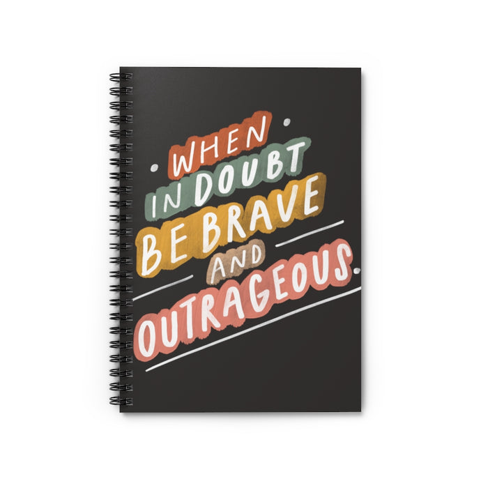 "Motivating and colorful quote about being your truest self hand-lettered on a spiral black 6"" x 8"" notebook."