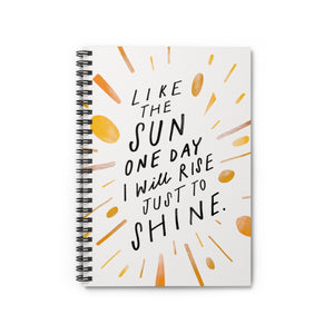 "Whimsical 6"" x 8"" spiral notebook with hand-lettered and illustrated quote about self-empowerment on the cover."