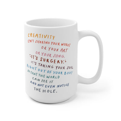 15 oz white coffee mug decorated with poem or quote about creativity in bright colors.