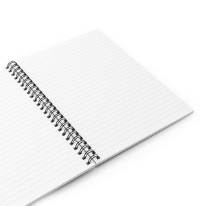 Spiral notebook open to show lined, ruled pages.