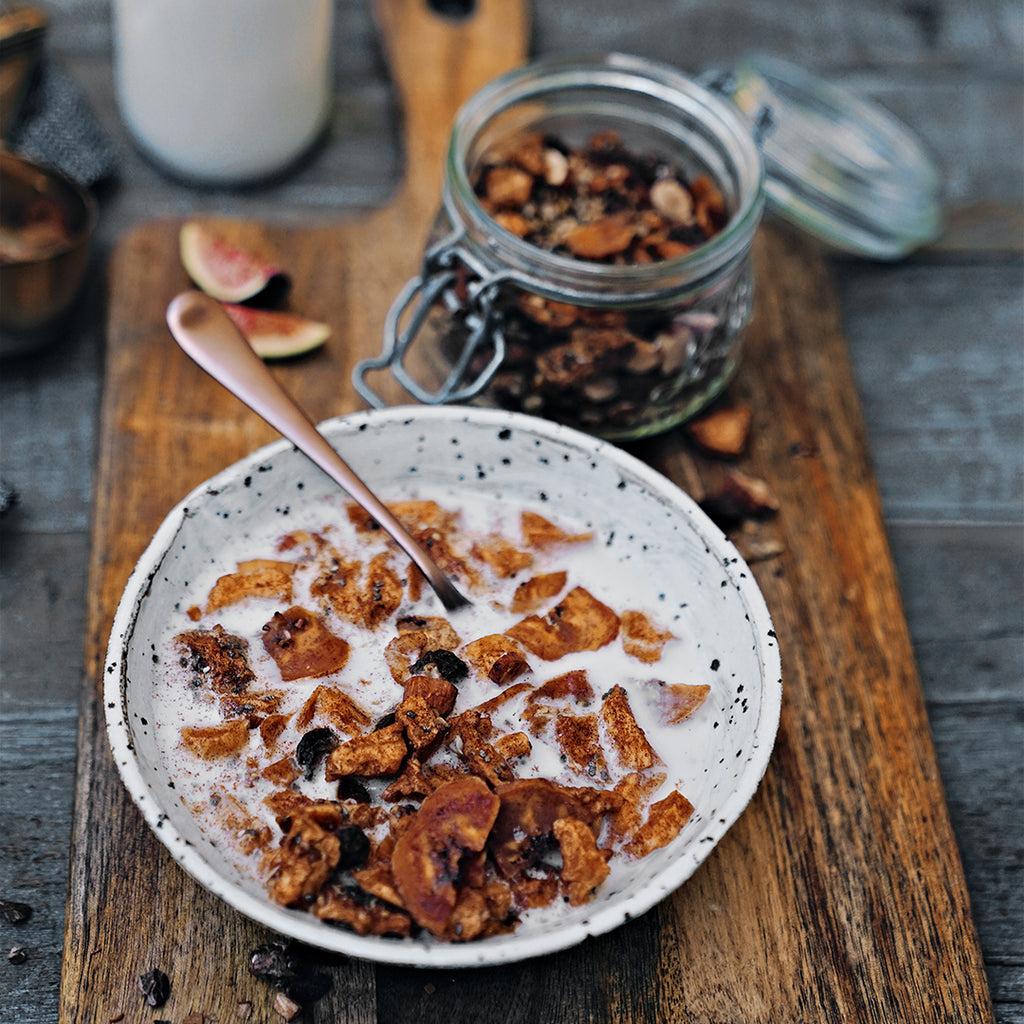 Our grain free Apple & Cinnamon cereal is the perfect light breakfast or afternoon snack. Serve with chilled coconut or almond milk.