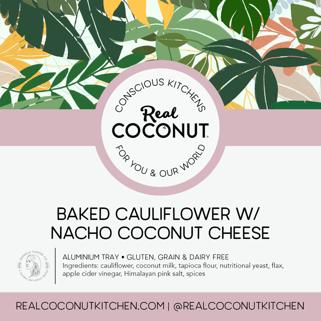 Baked Cauliflower w/ Nacho Coconut Cheese