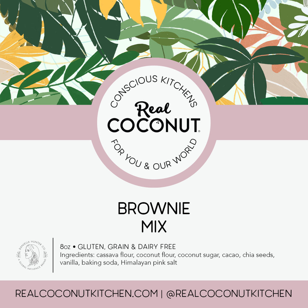 Brownie Mix. Make your own Real Coconut vegan brownies at home, just add avocado oil and coconut oil, whisk and bake.