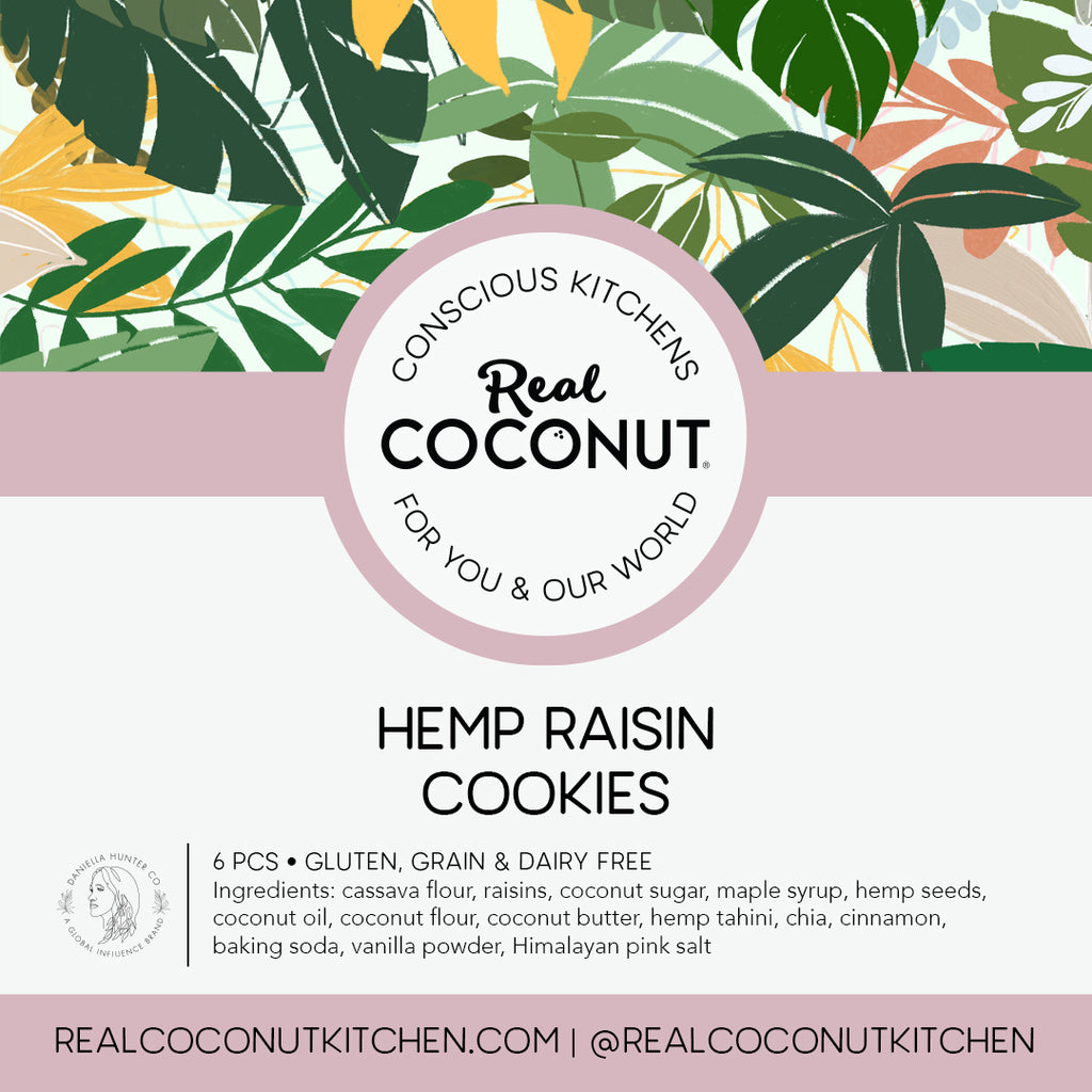 Our signature cookies, made by hand in our Real Coconut Conscious Kitchen with our hero ingredients - coconut, cassava, and hemp, sweetened with coconut sugar and maple syrup.  With an added protein boost from our house-ground hemp tahini.
