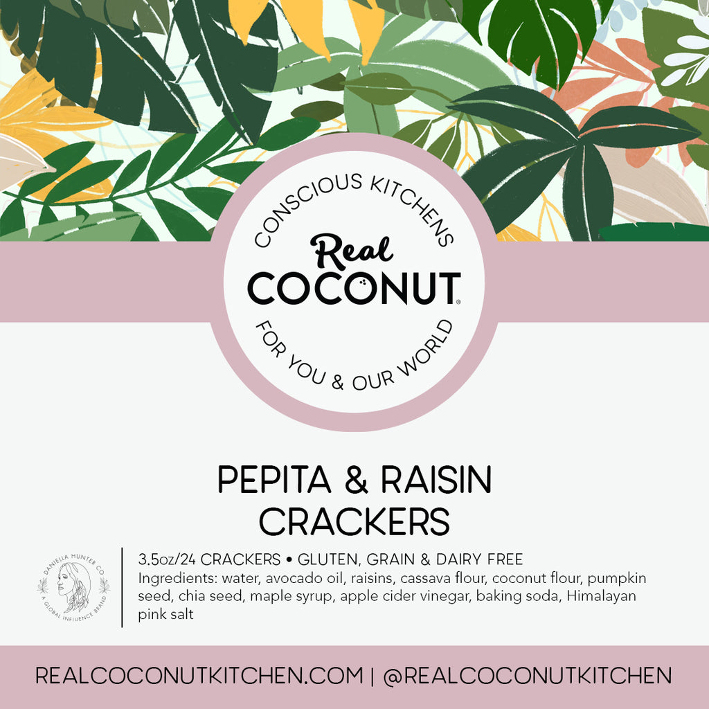 Pepita & Raisin Crackers. There's no stopping once you've started! Perfect to serve with our Plain Coconut Cheese, top with jams, or carry as an emergency snack!