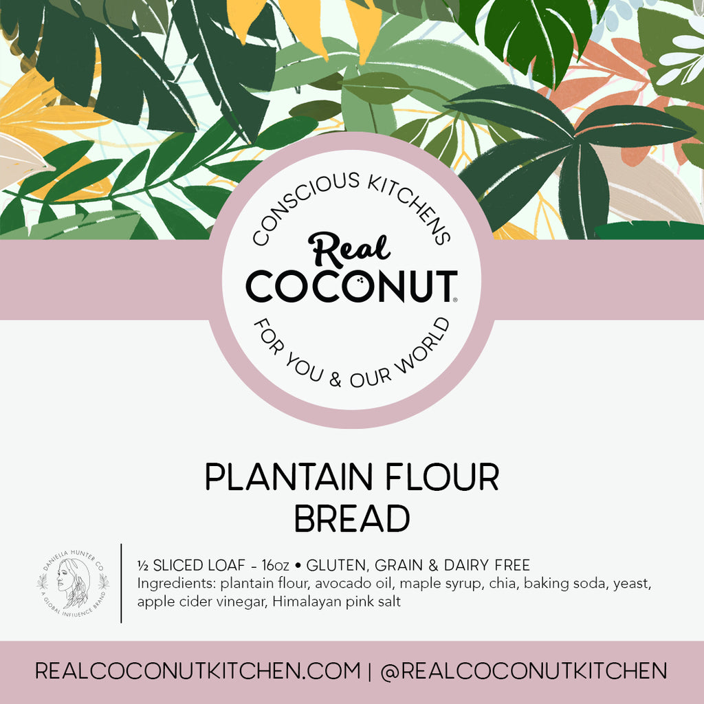 Plantain Flour Bread - Half Loaf. A staple to keep in your freezer, perfect for avocado toast, or served with our almond butter and honey.