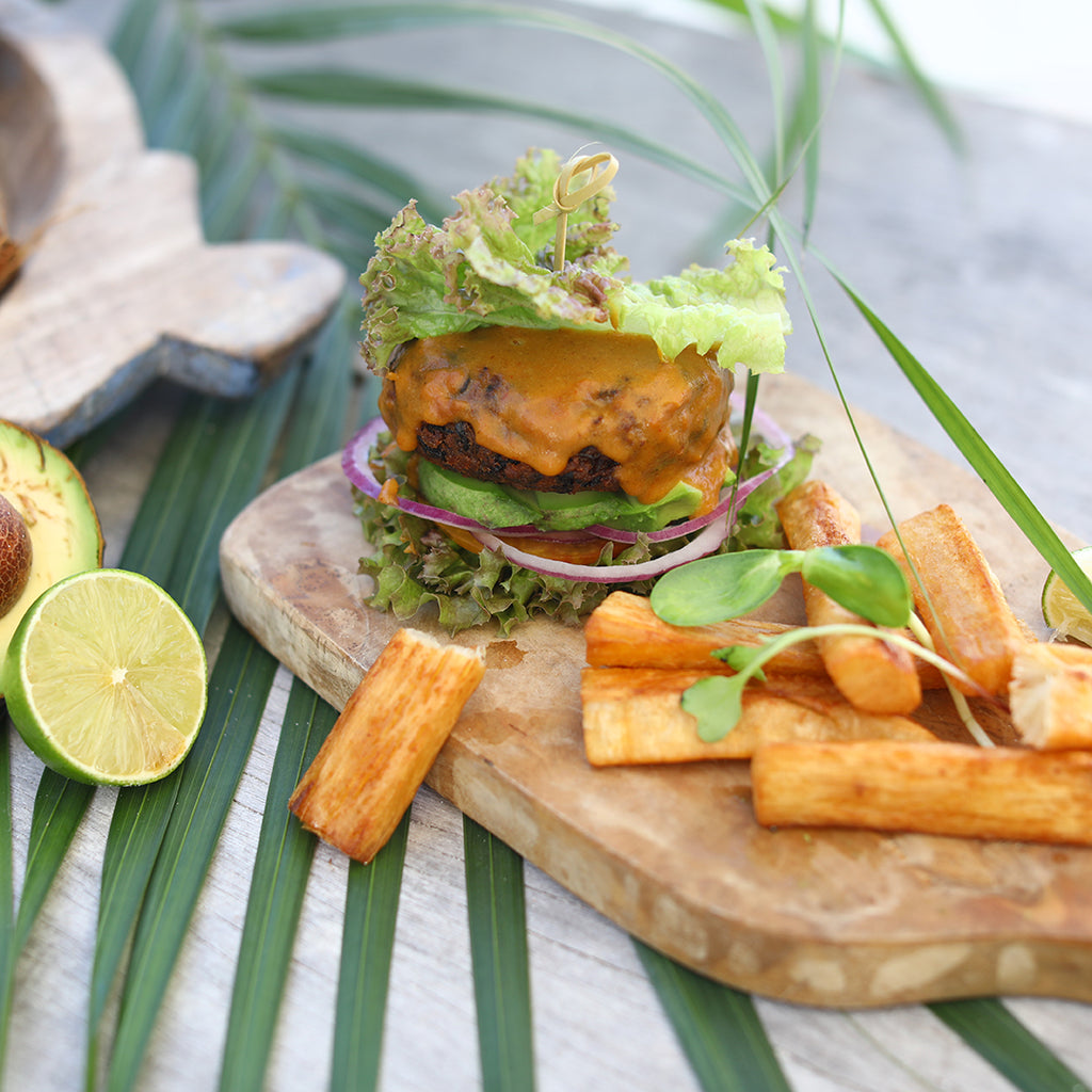 Life-changing vegan burgers, with a base of plantain and sweet potato, with a protein boost from pumpkin & hemp seeds.