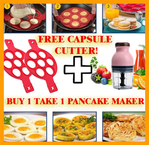 Nonstick Silicone Pancake Maker (BUY 1 TAKE 1) + All in One Capsule Cutter (FREE)