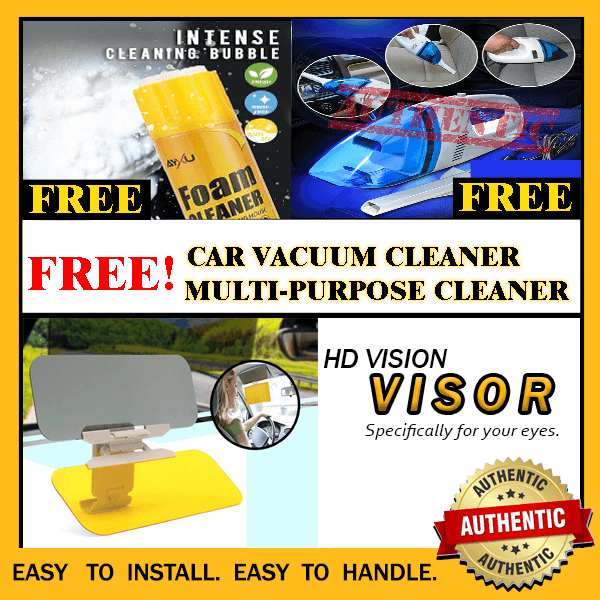HD VISOR PLUS FREE CAR VACUUM CLEANER AND MULTI- PURPOSE CLEANER
