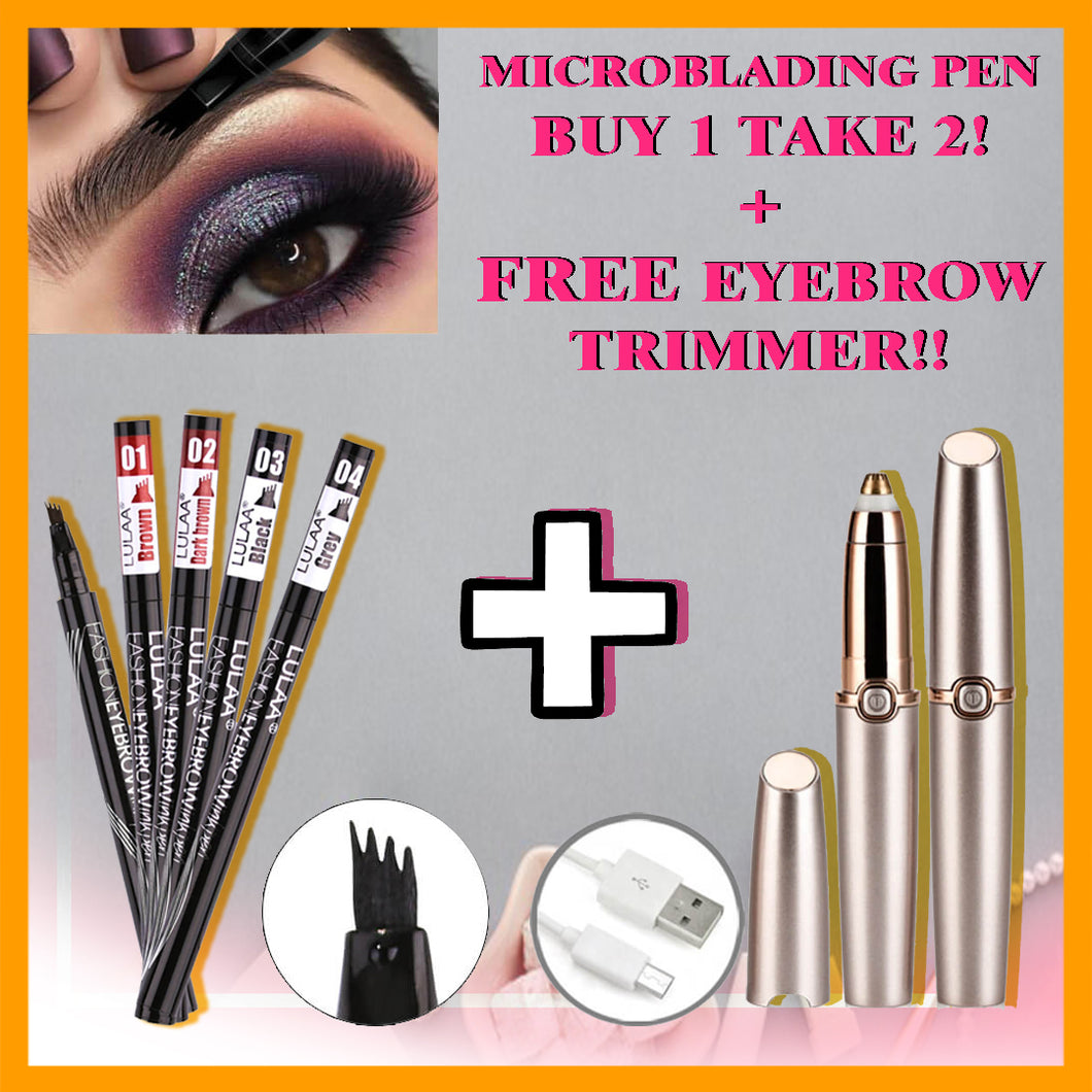 MICRO-BLADING EYEBROW PEN ( BUY 1 TAKE 2) + FREE EYEBROW TRIMMER WORTH P795.00!