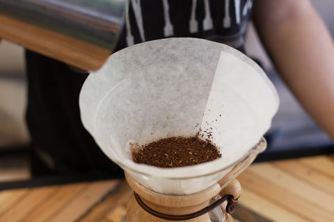 5 Place Your Chemex On The Scale Add Ground Coffee And Tare Shake Brewer A Little To Get Nice Flat Bed Of