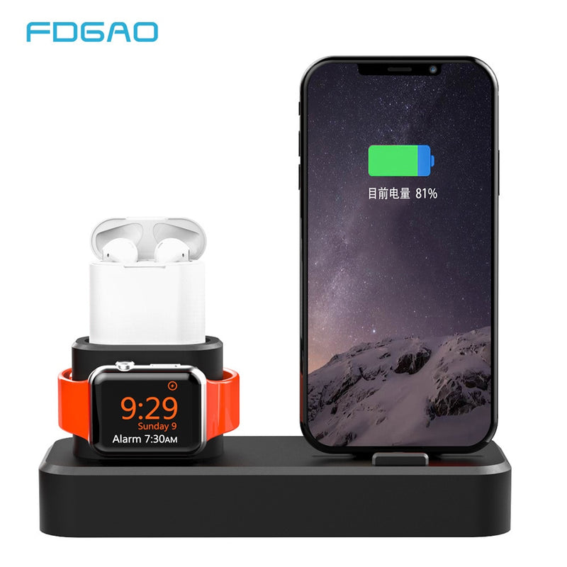 FDGAO 3 in 1 Charging Holder Dock Station Charger Stand For iPhone XR XS X 8 7 6s 6 Plus for Apple Watch 4 3 2 1  For Airpods