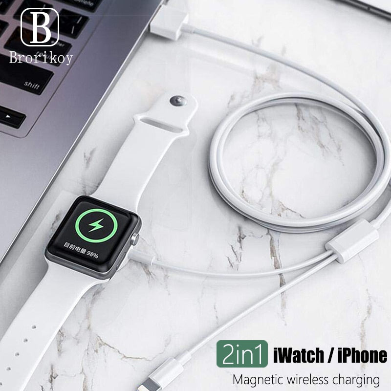 Wireless Charger for iPhone X XR 6 7 8 Plus Apple Watch Series 1 2 3 4 Magnetic Charging Cable 2 in 1  3.3 feet / 1 meter line