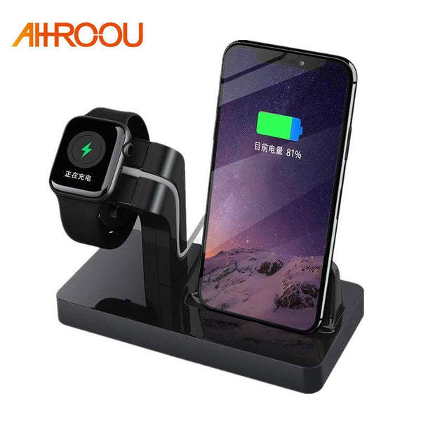 Charging Dock Holder Stand For Iphone X Iphone 8 Iphone 7 6 5 Silicone Charger stand Dock Station For Apple Watch Series 1 2 3 4