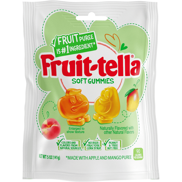 Fruit-tella Gummies Peach/Mango Gelatin Free 3.2oz - Curious Taste