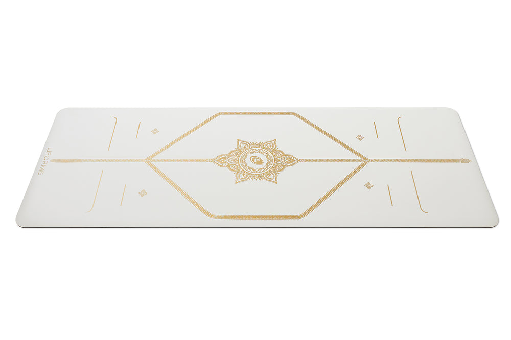 Liforme 'White Magic' Yoga Mat - White/Gold image 1