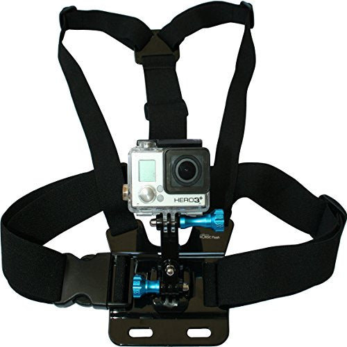 Chest Mount Harness for GoPro Cameras - Adjustable Body Strap Rig + 3-Way Adjustment Base with Aluminum Thumbscrew Kit