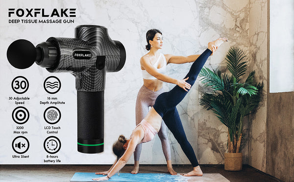 Massage Gun Deep Tissue Handheld Percussion for Athletes Portable Body FOXFLAKE Muscle Massager with 30 Adjustable speeds 6 pro Massage Heads for Pain Relief and Relaxation Muscle Massage Gun