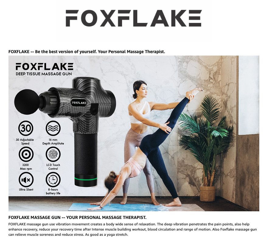 Massage Gun FOXFLAKE Deep Tissue Handheld Percussion for Athletes Portable Body Muscle Massager with 30 Adjustable speeds 6 pro Massage Heads for Pain Relief and Relaxation Muscle Massage Gun