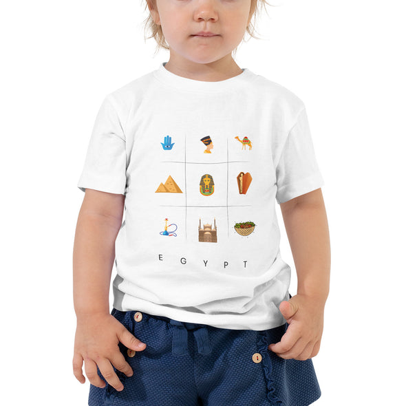 Symbols:Egypt / Toddler Short Sleeve Tee / White and Pink (E063T)
