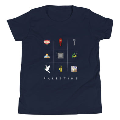 Symbols:Palestine / Youth Short Sleeve T-Shirt / Colors (P023Y)