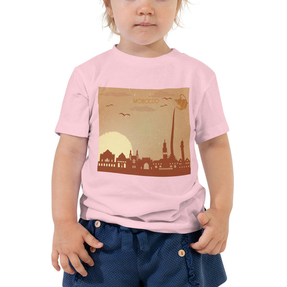 Morocco / Toddler Short Sleeve Tee / Black, White, and Pink (M004T)