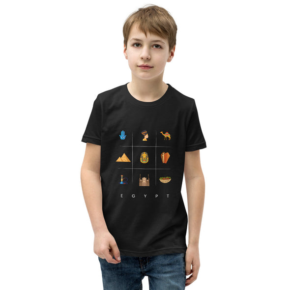 Symbols:Egypt / Youth Short Sleeve T-Shirt / Dark Colors (E064Y)