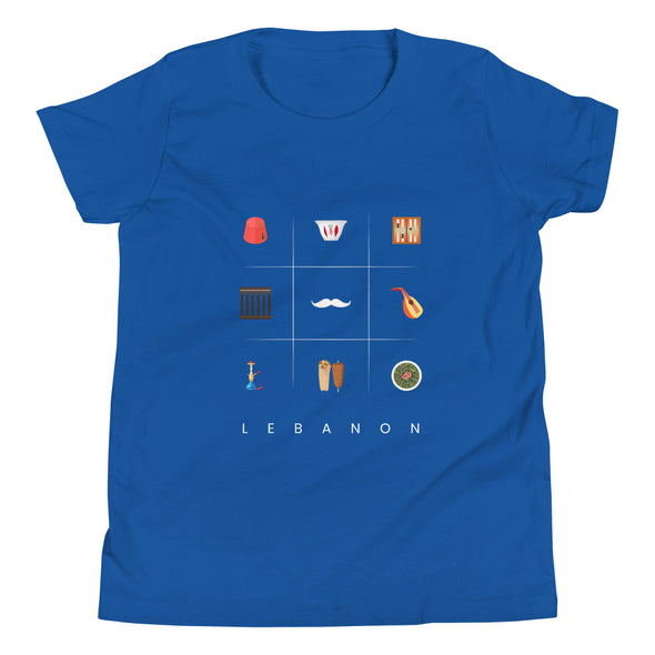 Symbols:Lebanon / Youth Short Sleeve T-Shirt / Colored (L036Y)