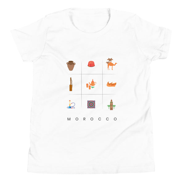 Symbols:Morocco / Youth Short Sleeve T-Shirt / Light Colors (M014Y)
