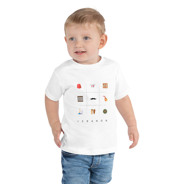 Symbols:Lebanon / Toddler Short Sleeve Tee / White and Pink (L039T)