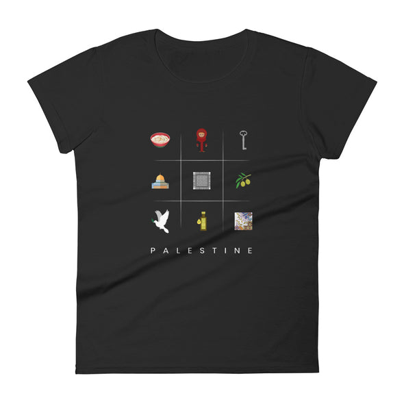 Symbols:Palestine / Women's Fashion Fit T-Shirt / Dark Colors (P020F)