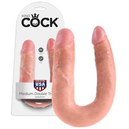 King Cock Dobbelt Dildo U Shaped Double Trouble - funtoys.dk