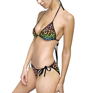 Rainbow Leopard Ombre Women's Bikini Swimsuit