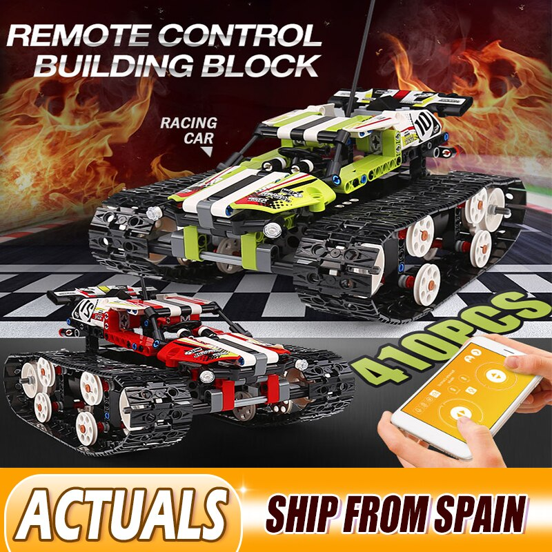 MOULD KING 13023 RC Crawler Car Racing APP Remote Control Car RC Tracked Racer Building Blocks Technic lepining 42065 Toys