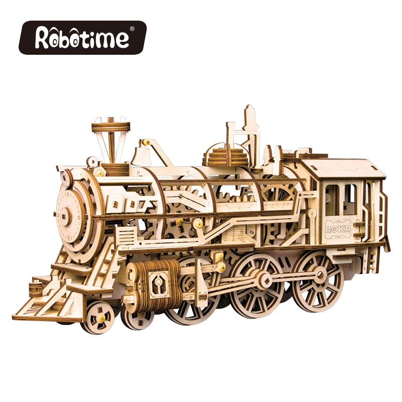 Robotime 4 Kinds DIY 3D Wooden Puzzle Game Laser Cutting Mechanical Model Assembly Toy Gift for Boy & Girls LK for Dropshipping
