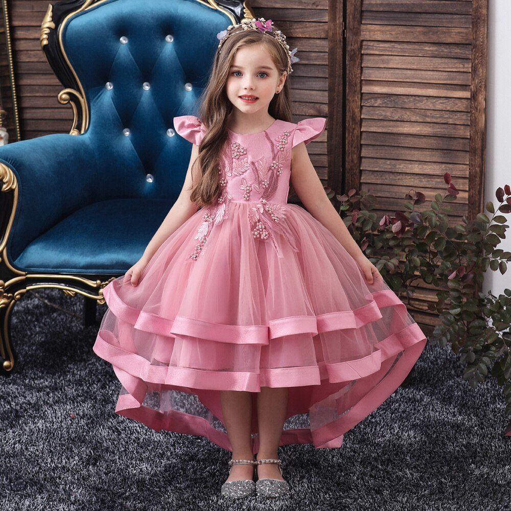 Princess Lace Dress Kids Flower Embroidery Dress For Girls Vintage Children Wedding Party Dress Girl Cute Vestido infantil D30