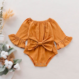 New Baby Romper Infant Baby Girls Bowknot Solid Flare Sleeve Romper Clothes Outfits Roupas Cotton Kids Clothing 3M-18M Designs