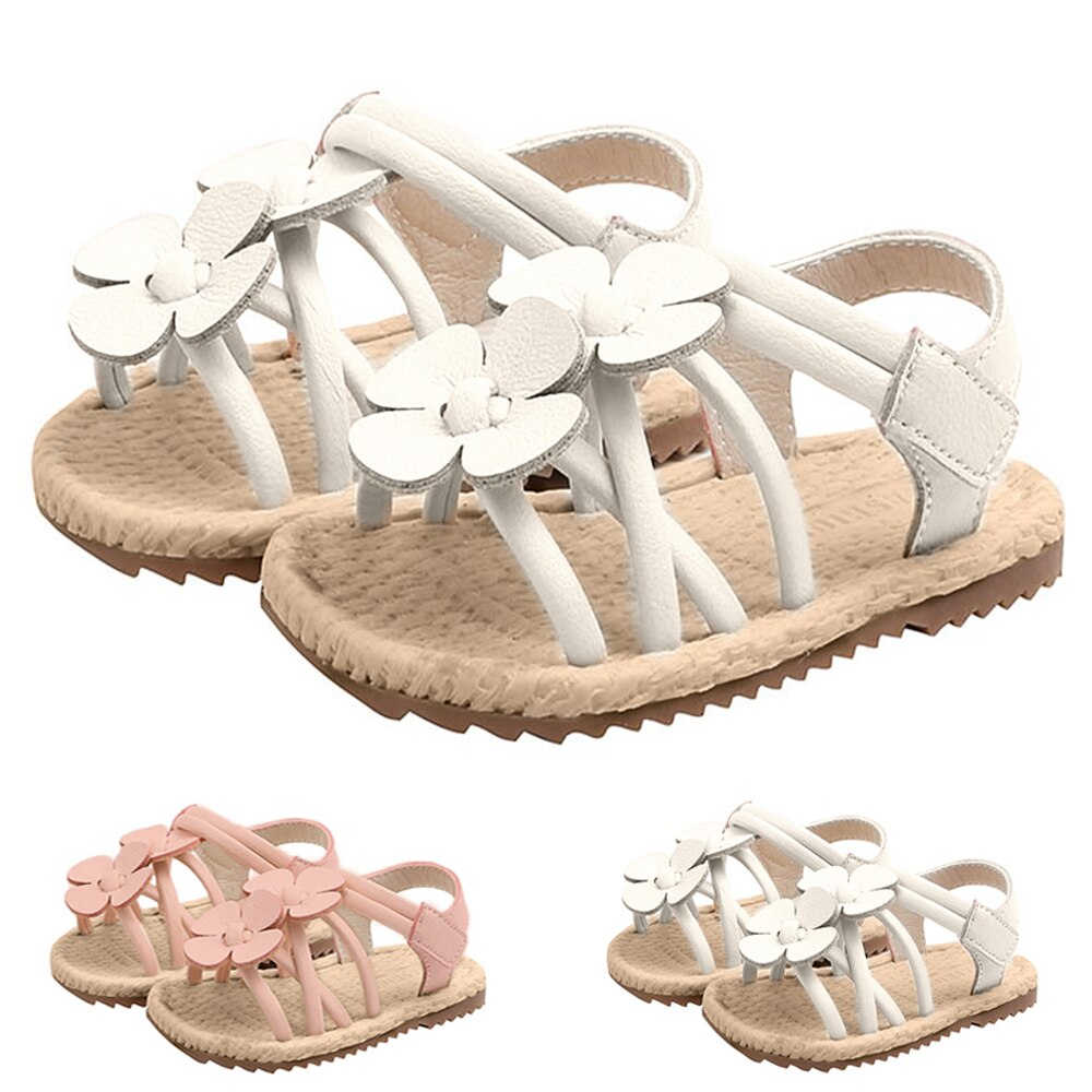 Kids Flower Princess Sandals Baby Girls Hook & Loop Gladiator Party Dress Wedding Dance Shoes Flat Beach Shoes D30