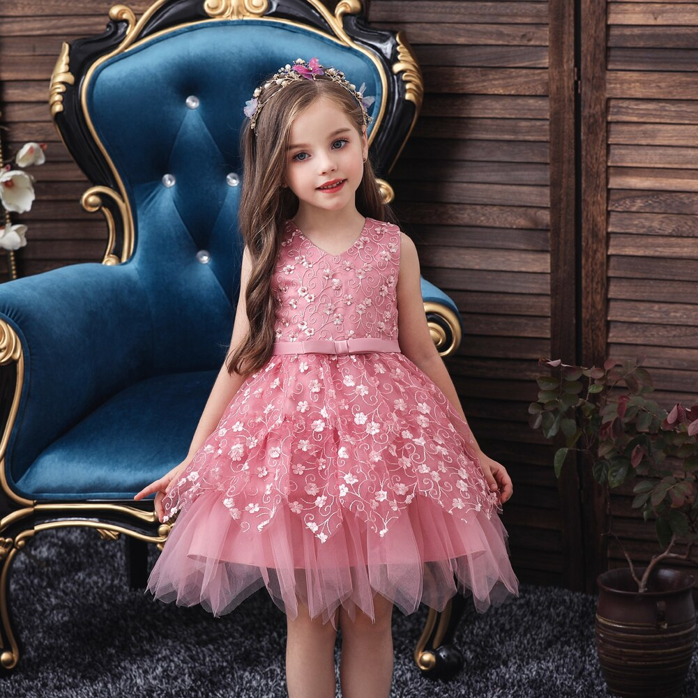Toddler Baby Kids Sleeveless Dresses Girls Lace Floral Dresses Princess Party Tutu Wedding Gown Children Clothing vestidos D30