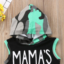 Load image into Gallery viewer, Toddler Baby Boys Letter Print Vest Hooded Tops+camouflage Shorts Outfits Sets Baby Clothes   Casual Cute Infant Cotton