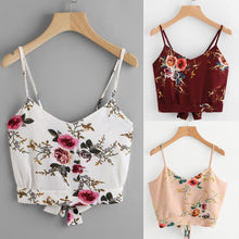 Load image into Gallery viewer, KANCOOLD tops T-Shirt high quality Self Tie Back V Neck Floral Print Crop Cami Camisole t-Shirt summer tops for women 2018MA7