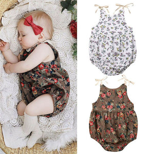 Newborn Baby Girl Romper Clothes Floral Print Romper Summer Toddler Strappy Romper Outfit Infant Clothing Baby Girl Romper 2020