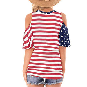 Feitong American Flag Print T Shirt 4th of July Womens Patriotic Stripes Star Cold Shoulder Button Down Summer Beach Top 2020