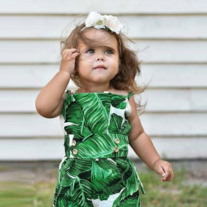 Leaves Print Strap baby Girls Bodysuits Cotton Sleeveless Infant Baby Girls Jumpsuit Outfits Clothes New Trendy Summer 2018