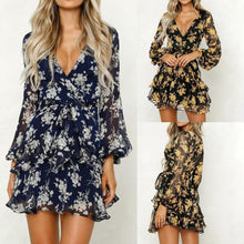 Load image into Gallery viewer, KANCOOLD Dress Womens Floral Leaf Printed Lantern Sleeve Empire Dress Ladies Summer Beach Casual Mini Dress women 2018AUG9