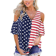 Load image into Gallery viewer, Feitong American Flag Print T Shirt 4th of July Womens Patriotic Stripes Star Cold Shoulder Button Down Summer Beach Top 2020