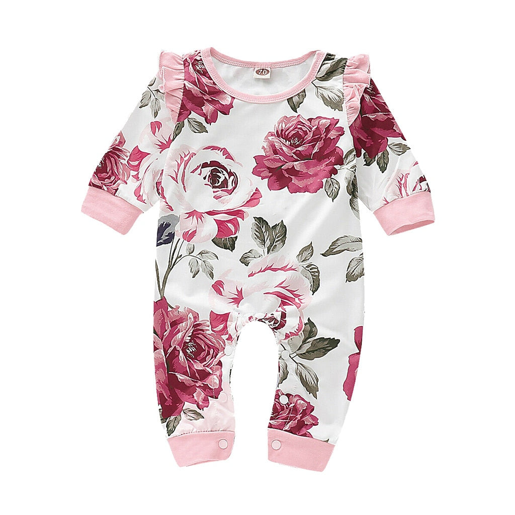 Floral Girls Baby Clothes Cotton Baby Romper Long Sleeve New Born Baby Girl Rompers Pajamas Autumn Winter Infant Costume