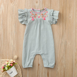 Newborn Infant Baby Girls Romper Jumpsuit Embroidery Floral Outfits Baby Romper Baby Girl Clothes Playsuit Baby Costumes Summer
