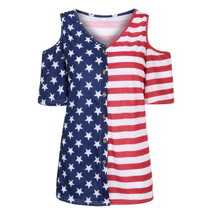 Patriotic American Flag Off-Shoulder T-shirt